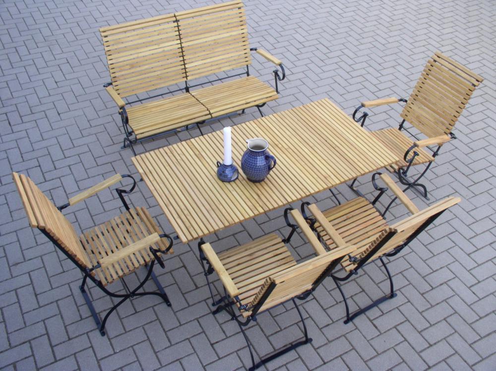 Gartenbank Metall Robinienholz SET