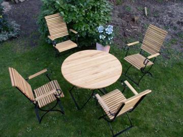 Gartenmöbel Robinienholz 4 Hochlehner mit rundem Tisch