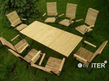 gartenmöbel Robinienholz 8 Hochlehner und Gartentisch