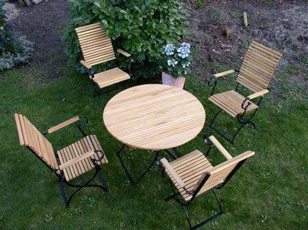 Exclusive Gartenmöbel Iterset Mit Runden Gartentisch 4 Hochlehnern