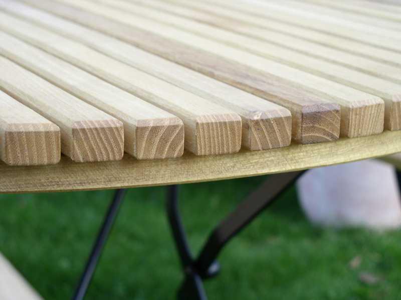 Tisch rund Robinienholz Gartenmoebel
